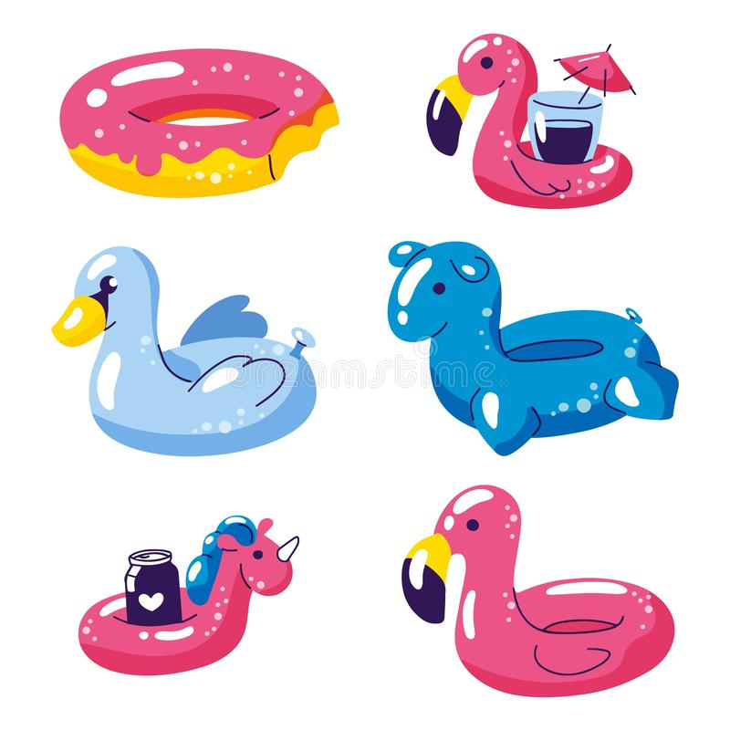 Pool cute kids inflatable floats, vector isolated design elements. Unicorn, flamingo, swan, donut icons isolated on royalty free illustration