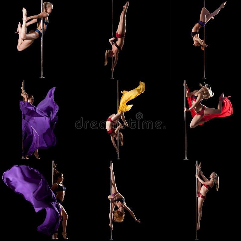 Pool-dans Fotoreeks van meisje opleiding op pyloon stock foto's