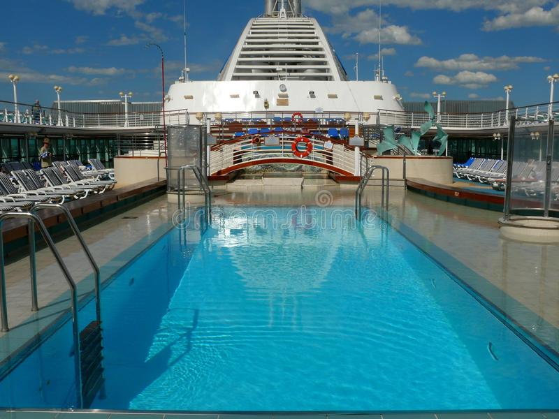 Pool deck on the cruise ship stock image