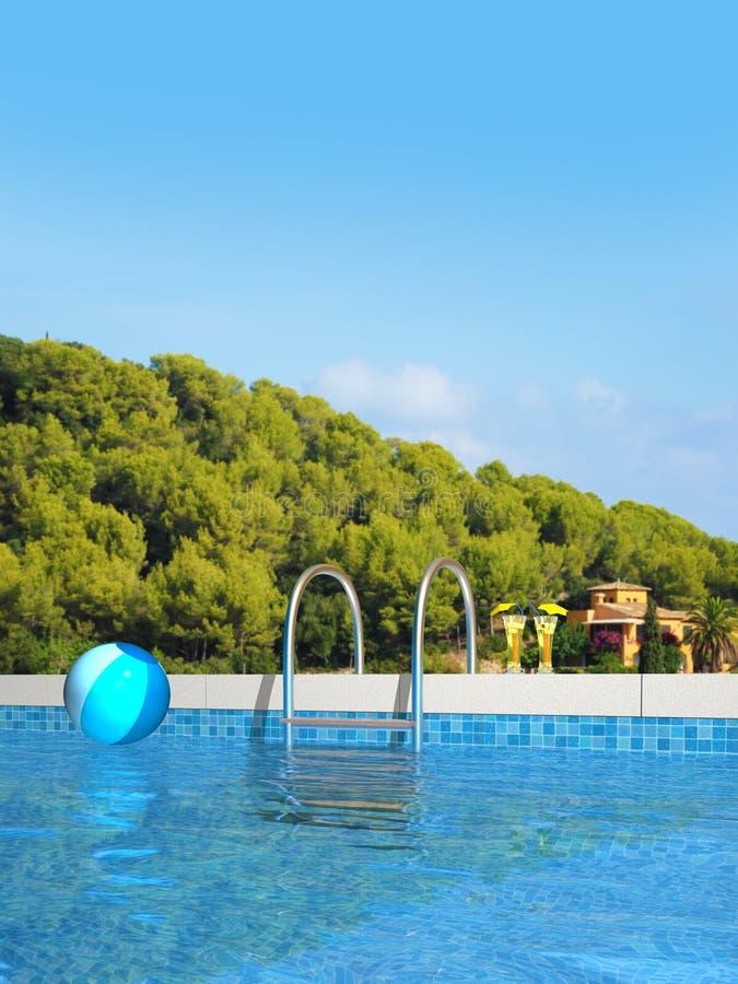 Pool in der Mittelmeerlandschaft vektor abbildung