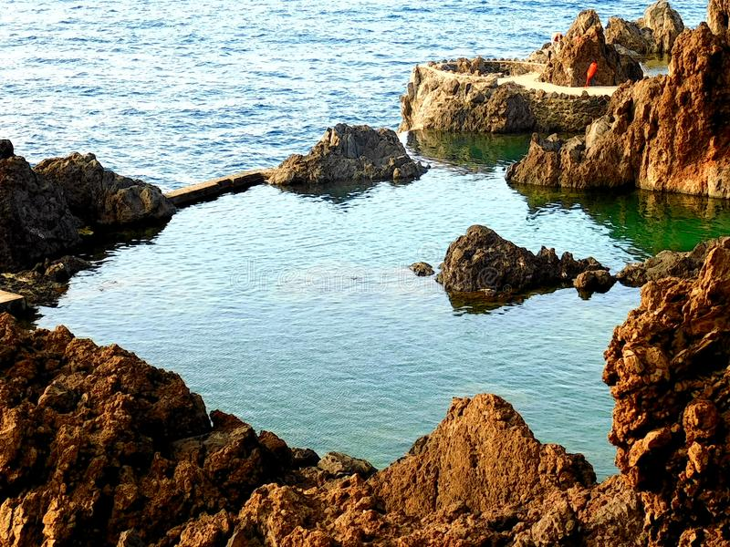 The pool of desire. Beautiful natural pool of the creation of the mother earth in which we live our planet Earth. Located in Europe exactly in Portugal royalty free stock photography