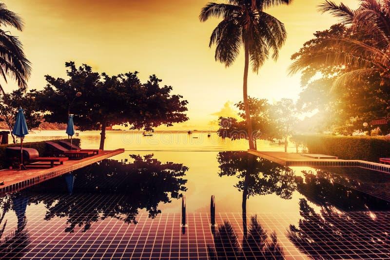 Pool door het overzees bij zonsondergang Bezinning van palmen in het water en stock afbeelding