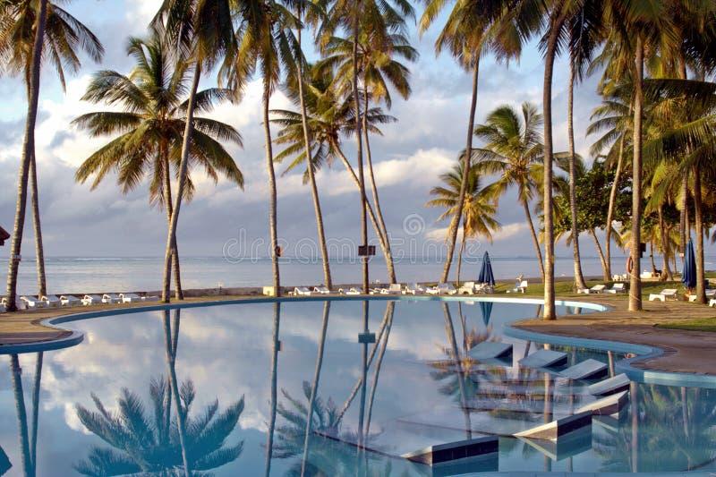 Pool an einem tropischen Strandurlaubsort stockbild