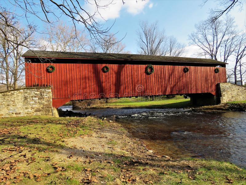 Pool Forge Covered Bridge. Is located in Lancaster County, Pennsylvania spanning the Conestoga River stock photo