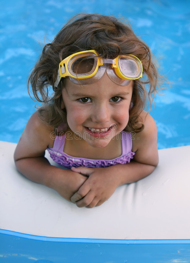 Download Pool girl stock image. Image of baby, curly, smiling, goggles - 6087527