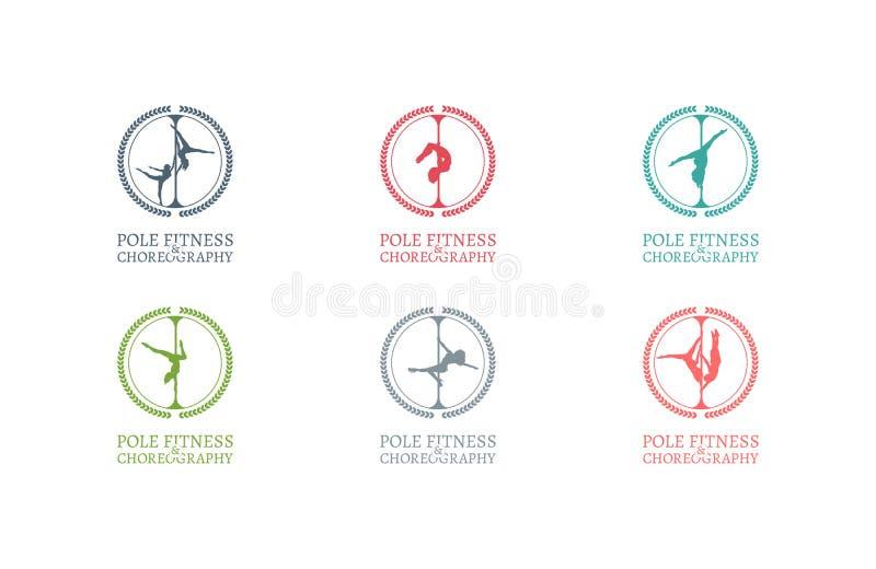 Pool-het Embleem of het Kenteken van de Dansschool Collectieve Identiteit voor Pool-Dansschool stock afbeeldingen