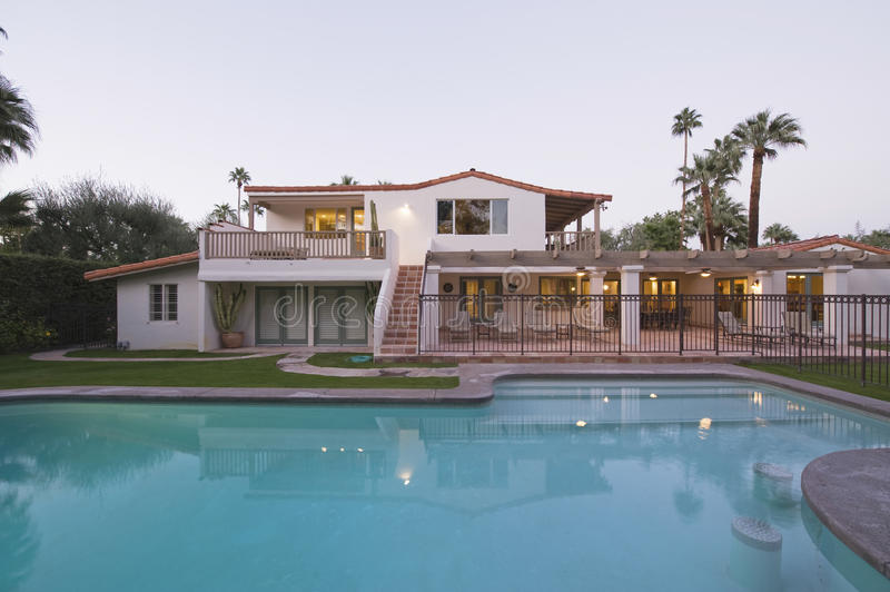 Pool And Home Exterior stock photo