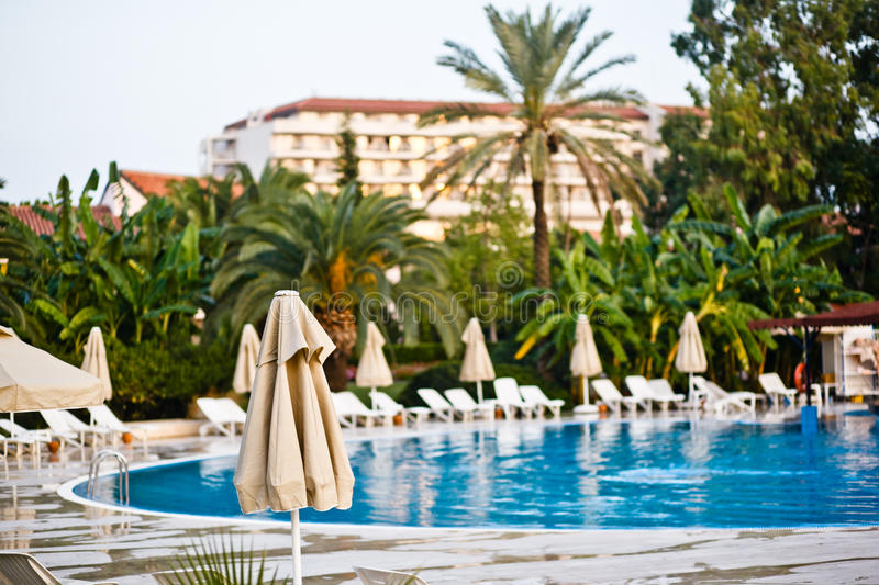 Pool in hotel royalty free stock photography