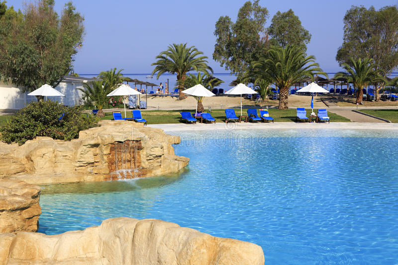 Pool of Hotel Porto Carras Meliton. royalty free stock photography
