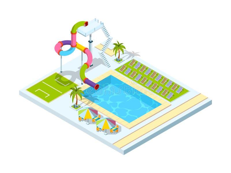 Pool hotel. Recreation area resort vacation water slide park vector isometric illustrations royalty free illustration