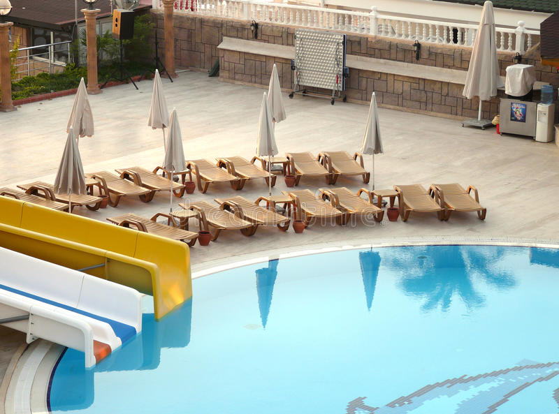 The pool at the hotel royalty free stock image