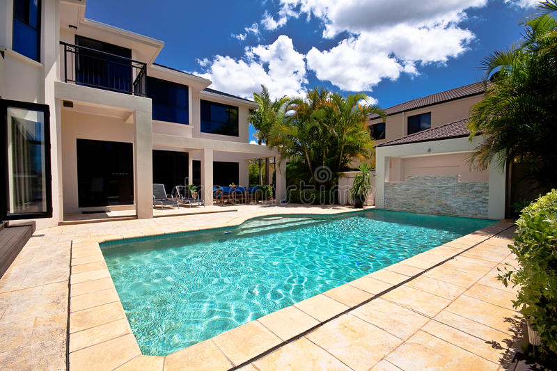 Pool and Luxury House royalty free stock images