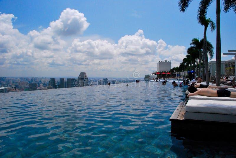 Pool on Marina Bay Sands hotel. Luxurious swimming pool on 57th floor of Marina Bay Sands hotel in Singapore stock image