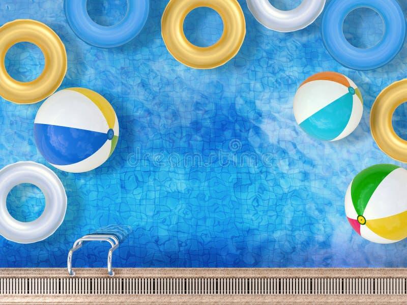 Pool mit Spielwaren lizenzfreie abbildung