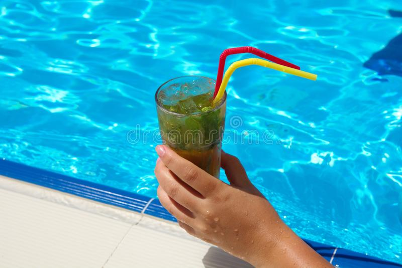 pool and mojito cocktail stock image