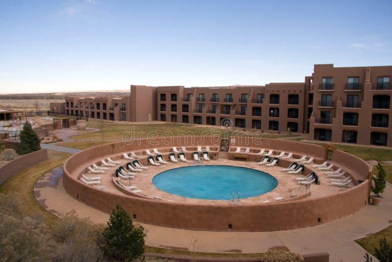 Pool near an hotel stock photography