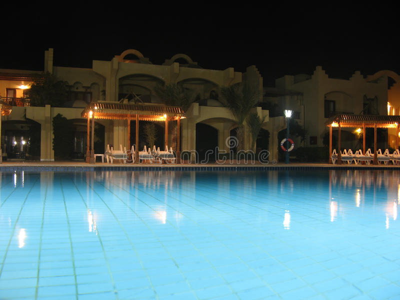 Pool at night stock image