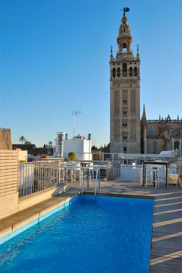 Pool overlooking la Giralda royalty free stock photos