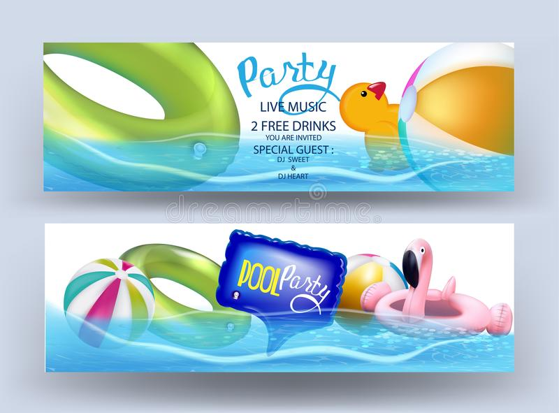 Pool party banners with inflatable toys in a water. royalty free illustration