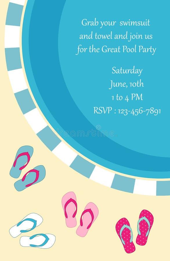 Pool-Party-Einladung vektor abbildung. Illustration von aktivität ...