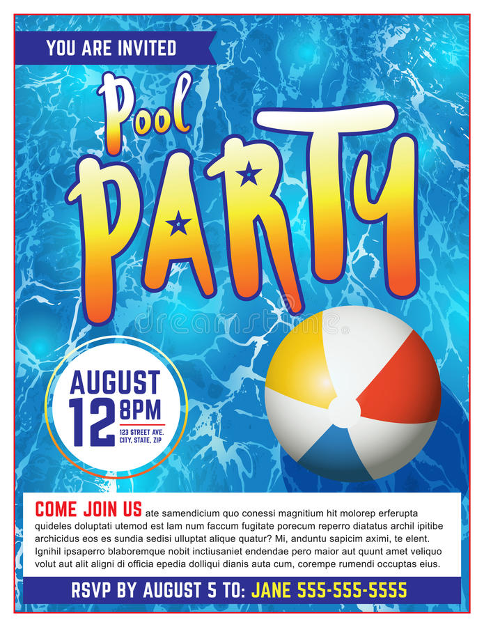 Pool Party Flyer Invitation Illustration. A pool party invitation template. Vector EPS 10 available which is layered vector illustration
