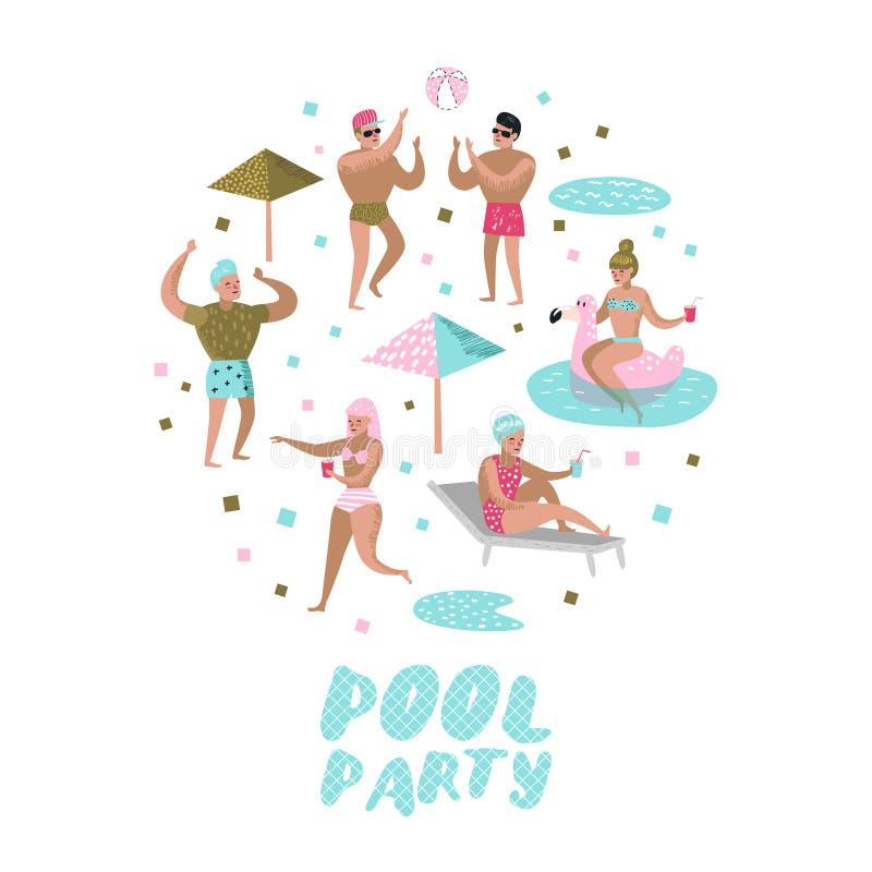 Pool-Party-Gekritzel Das Charakter-Leute-Schwimmen, entspannend, haben Spaß im Pool Sommerzeit-Feiertage am Strandurlaubsort lizenzfreie abbildung