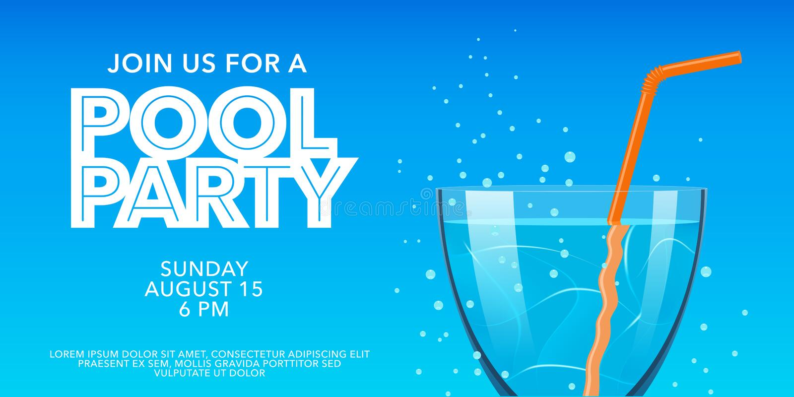 Pool party horizontal banner with drinking glass on blue background vector illustration. Template design element for summer party invite vector illustration