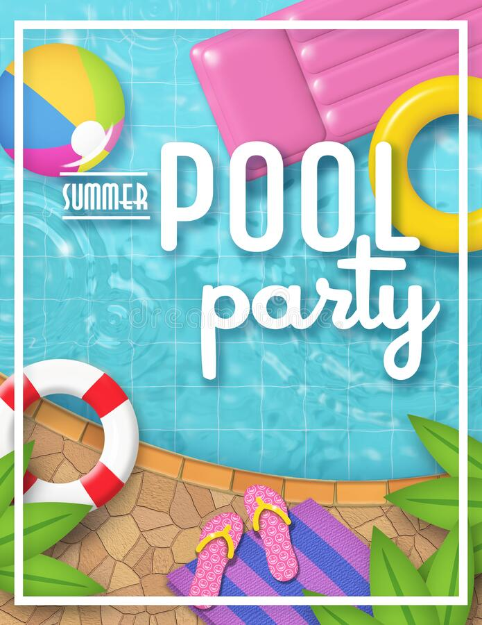 Free Pool Party Invitation Art Beach Ball Water Fun Colorful Royalty Free Stock Photo - 174152285