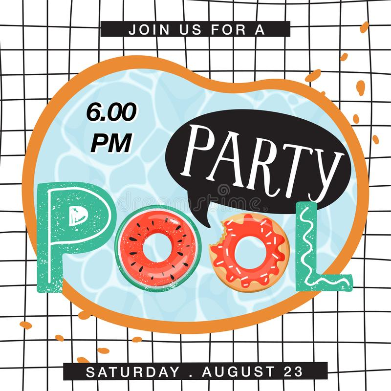 Pool party invitation banner. Top view of swimming pool with creative lettering and checkered background. Summer rest and vacation. Vector illustration royalty free illustration
