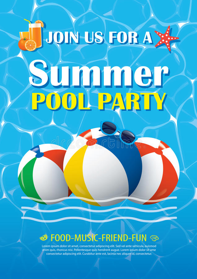 Pool party invitation poster with blue water. Vector summer back vector illustration