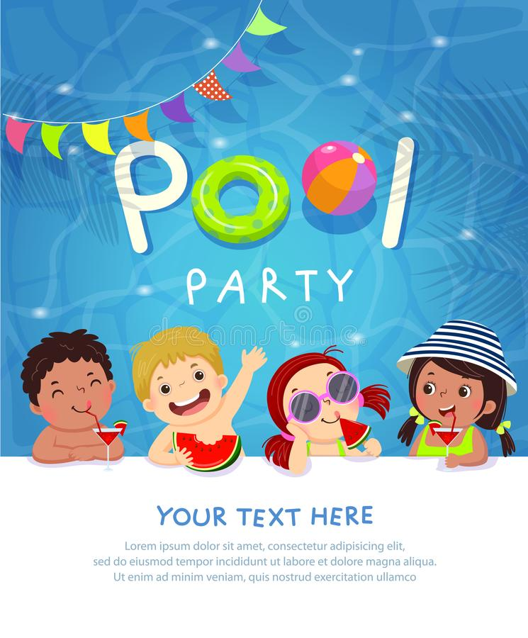 Pool party invitation template card with kids enjoying in swimming pool. Vector illustration of pool party invitation template card with kids enjoying in stock illustration