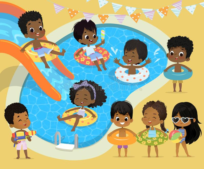 Pool party Kids. African-American children have fun in pool. Little Girl in Swimsuit Funny Summer Vacation. Boy with a. Toy water gun. Children playing in the royalty free illustration