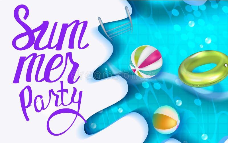 Pool-Party-Plakat mit Swimmingpool und aufblasbaren Spielwaren stock abbildung