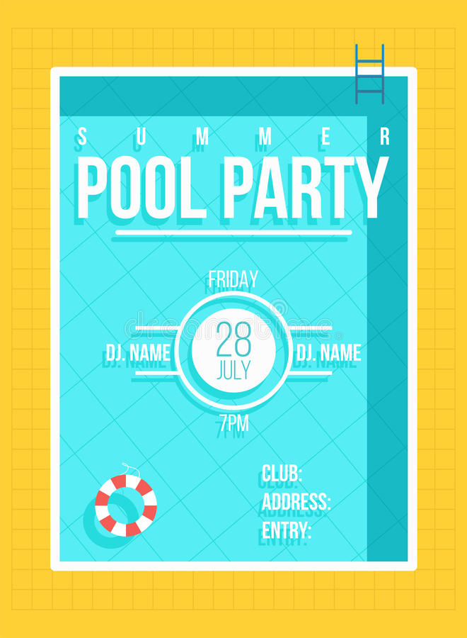 Pool party poster. Summer party invitation, flyer concept vector illustration