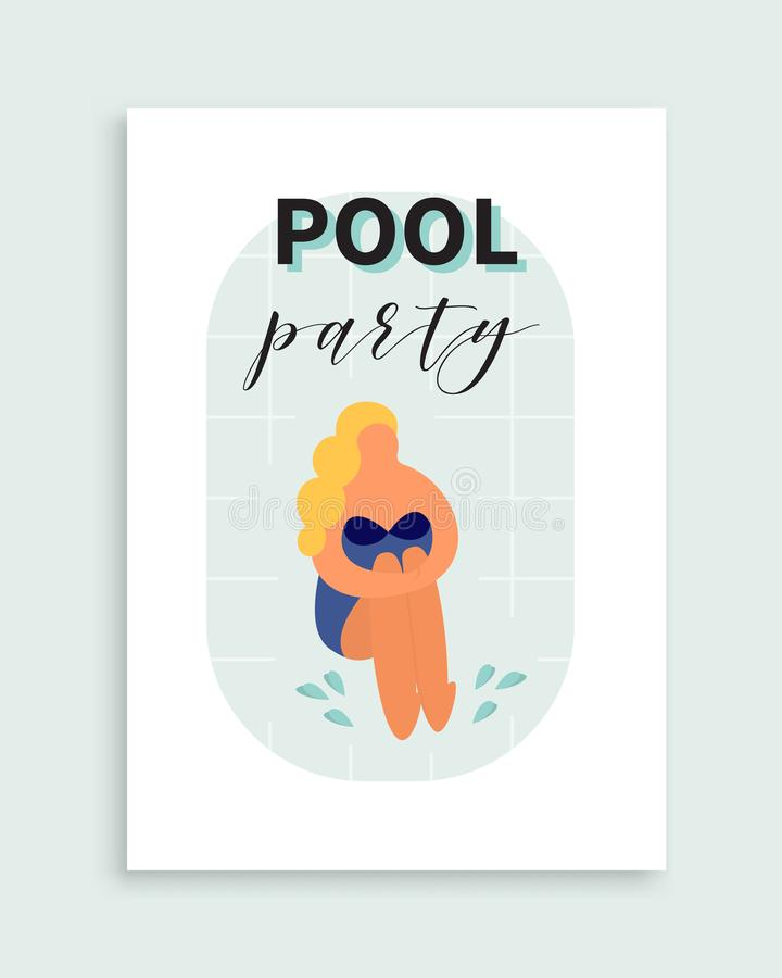 Pool party poster. Vector invitation to the beach event. stock illustration