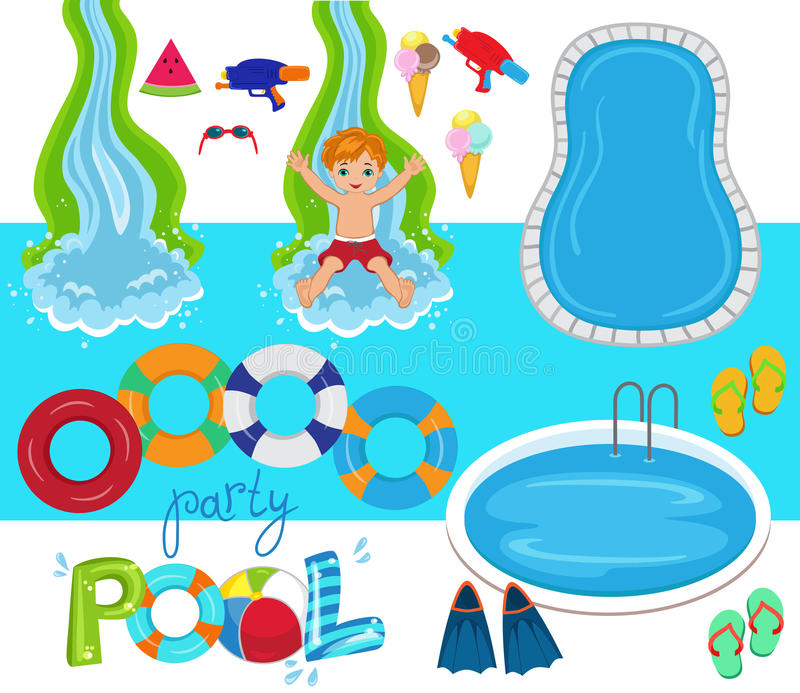Pool party vector design illustration stock illustration for Pool design elements