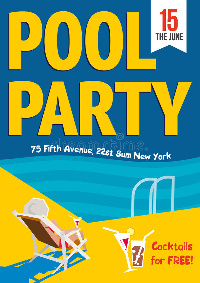 Pool Party. Woman relaxed with a cocktail by the pool. Template poster design. royalty free illustration