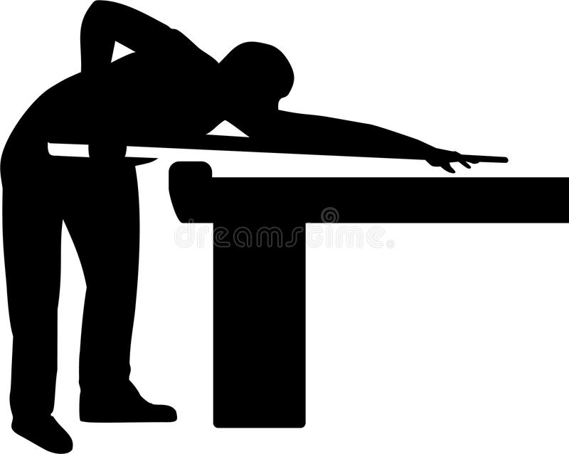 Pool Player Table Billiards. Pool Player at Table Billiards stock illustration