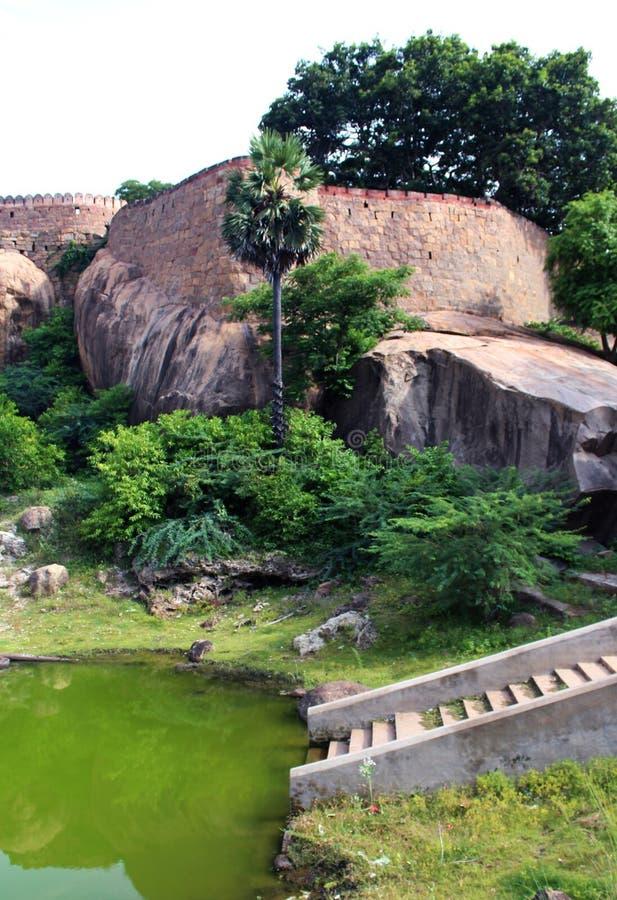 Pool of port landscape. Fort Tirumayam, tamilnadu, india - Sethupathi Vijaya Raghunatha Tevan [1673-1708] of Ramanathapuram, popularly known as Kilavan royalty free stock image