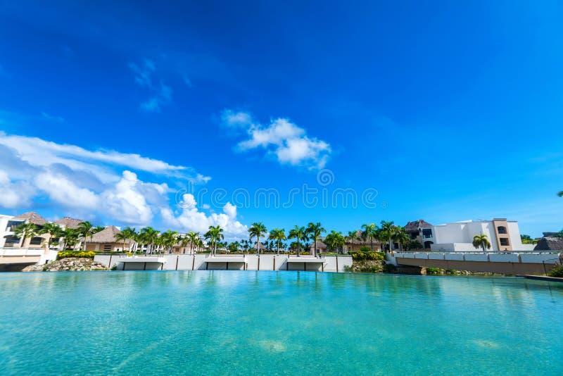 Luxury tropical hotel in Dominican Republic. Pool in the resort and spa luxury tropical hotel in Punta Cana, Dominican Republic stock photos