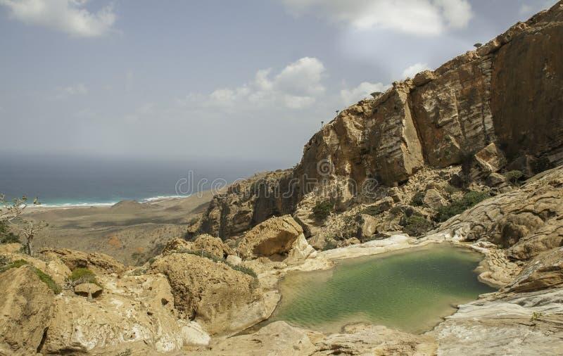 Pool on a rock, Dihamri Marine Protected Area, Socotra Island, Yemen royalty free stock photo