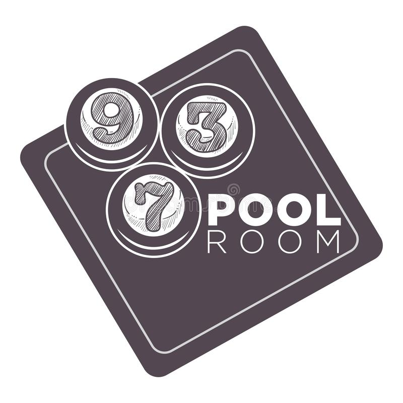 Pool room, numbered cue balls on a billiard table sketch. Pool room, billiard table and three numbered cue balls sketch design, monochrome flat concept vector vector illustration