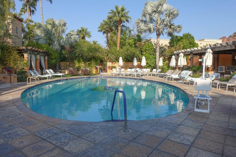 Pool at the Royal Palms Resort Phoenix Arizona. Pool in the spa area of the historic Royal Palms resort in Phoenix, Arizona stock image