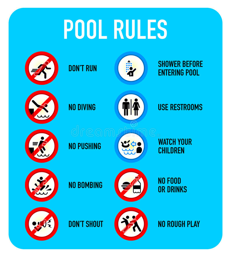 Pool rules signs. Set of typical pool warning and prohibited signs