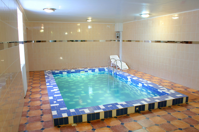 Pool in sauna stock foto