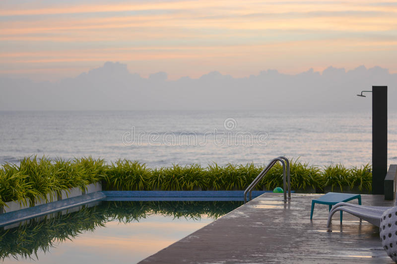 Pool beside a sea royalty free stock images