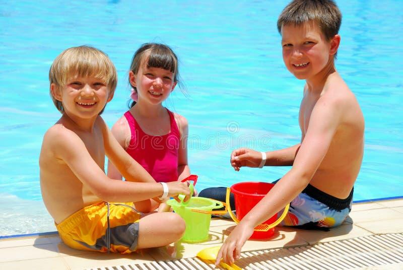 Pool side fun stock image