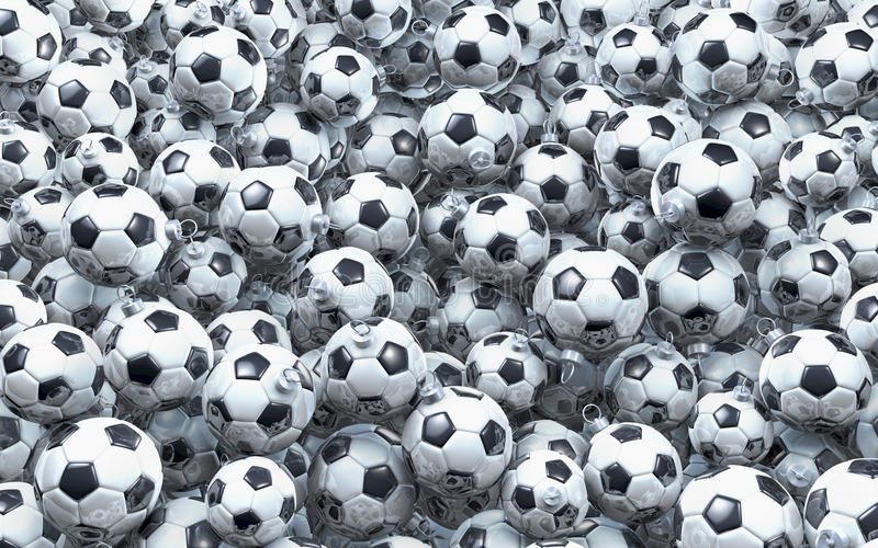 Pool of soccer christmas balls royalty free illustration