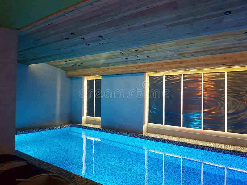 Pool and spa in modern hotel in ski resort Bukovel. Beautiful  hotel  ski resort  chalets  bukovel carpathian s  carpathians ukraine amazing winter wood   wooden royalty free stock images