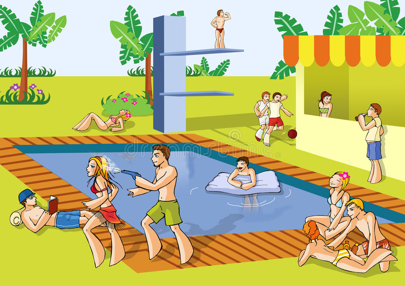 Download Pool summer party stock illustration. Image of party, summer - 6032007